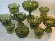 Set of 10 Vintage Green Glass Bowl Compote Goblet Instant Collection Wedding Decor Candy Buffet