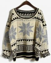 Grey Long Sleeve Snowflake Tribal Print Sweater $33.60
