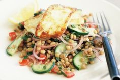 Haloumi with lentil salad
