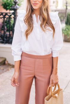 Early fall style- pink and white