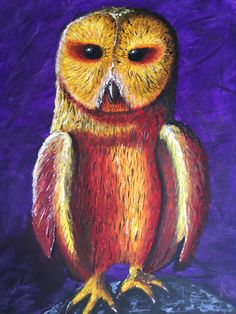 Tokyo Owl. After a recent trip to Tokyo and visiting an owl cafe I painted this. The colours reflect the bright end exciting energy of the city at night.