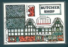 B2152 Fiddler's Green Cut Out Postcard - Butcher Shop