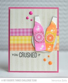 Handmade card from Veronica Zalis featuring the Laina Lamb Design Soda Pop stamp set and Soda Pop Bottles Die-namics