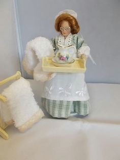 """1:12 miniature dollhouse """"Nurse Maggie"""" Ready for your bed bath sir""""  Summer Sale (Please do not buy reserved for Sherry)"""