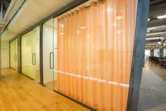 Acoustic Sheer from Carnegie Fabrics/Creation Baumann in glass conference room. Interior Design Courses, Office Interior Design, Office Interiors, Carnegie Fabrics, Acoustic Fabric, Panel Curtains, Curtain Panels, Office Relocation, Salon Design