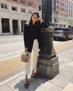 white pants black top black blazer slippers spring autumn