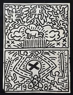 """Very Rare Keith Haring """"Poster for Nuclear Disarmament"""" 1982 Signed w Baby"""