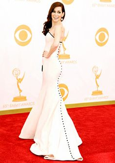 Carrie Preston wowed in a Romona Keveza gown and Open Hearts by Jane Seymour jewelry at the 2013 Emmys.