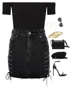 """""""Untitled #2734"""" by chanelzizzles ❤ liked on Polyvore featuring Michael Kors, Topshop, Yves Saint Laurent, Eugenia Kim, Kenneth Jay Lane and Cartier"""