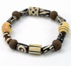 Mixed Bead Clay & Bone Tribal Bracelet by DysfunctionDesigns, £8.00