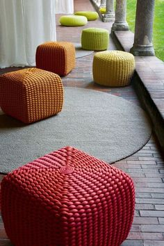 Outdoor pouf - extra seating and splash of color. Paola Lenti - Tide Pouf with cover in Rope cord. Outdoor Pouf, Outdoor Seating, Garden Seating, Extra Seating, Furniture Vancouver, Home Furniture, Furniture Design, Crochet Pouf, Pouf Ottoman