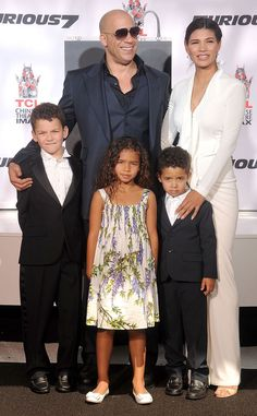 See Vin Diesel and His Family at His Handprint Ceremony! It was a family affair while the Furious 7 star commemorated his work Black Celebrity Couples, Celebrity Kids, Black Couples, Vin Diesel, Cute Family, Beautiful Family, Beautiful People, Beautiful Beautiful, Black Celebrities
