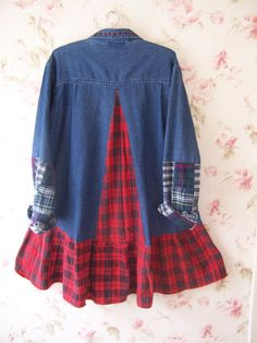 1X Upcycled Denim Button Front Dress Shirt Tunic Reconstructed Long Sleeve Red…
