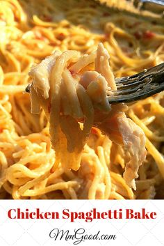 My Baked Chicken Spaghetti Casserole recipe  is a super easy pasta dish to make with chicken, velvetta cheese and cream of chicken.  This baked dish can be made in about 30 minutes...Please visit my site for the complete recipe | MmGood.com