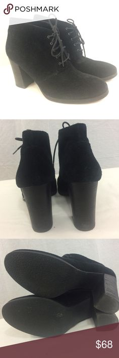 """Franco Sarto Black Suede Wenda Ankle Boots (sz 10) These booties have been gently preloved, and still look almost new!  Only worn a few times.  They are so much cuter in person!  They are a nice soft suede & they only have slight wear to the soles.  Very cute & can be worn with such a range of styles.  The heels measure about 3.5"""".  Reasonable official offers may be considered. Franco Sarto Shoes Ankle Boots & Booties"""