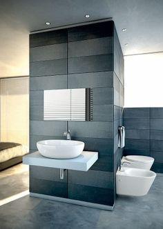 Shades of grey in master bath.