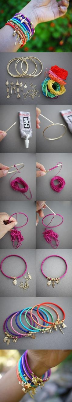 How To Make Summer Bracelets - easy - just follow pictures (Use size 10 crochet thread or smaller, charms, jump rings. I'd use 2 needle nose pliers for the jump rings.)