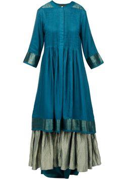 Kurtas and Sets, Clothing, Carma, Teal layered kurta with handloom dupatta ,  ,