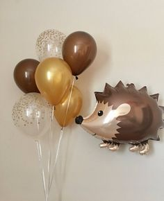 27 Ideas Baby Shower Ides For Boys Themes Forests Woodland Animals Baby Shower Niño, Boy Baby Shower Themes, Baby Shower Balloons, Shower Party, Hedgehog Birthday, Fairy Birthday, Birthday Crafts, Jumbo Balloons, Latex Balloons