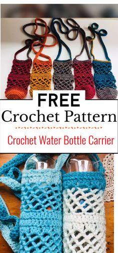 Crochet Cozy, Crochet Gifts, Free Crochet, Water Bottle Carrier, Water Bottle Holders, Yarn Projects, Crochet Projects, Crochet Star Stitch, Crochet Animal Hats