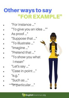 """Other Ways to Say """"For Example"""" - - # learn english poster design Essay Writing Skills, Book Writing Tips, English Writing Skills, Writing Words, English Lessons, French Lessons, Spanish Lessons, English Vocabulary Words, English Phrases"""