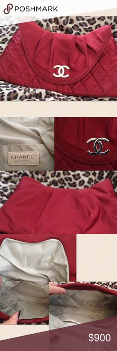 Authentic Chanel satin clutch Chanel 11.5 L X .6 D X 5.75 H This Is An Authentic, Pre-Owned Bag. As With All Previously Carried Items, Light Wear To The Hardware. Silver satin interior. Bag only! One pen mark inside. CHANEL Bags Clutches & Wristlets