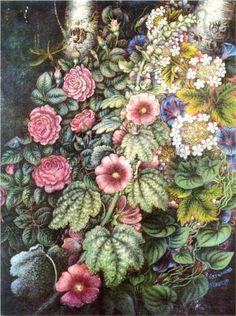 Mallows and Roses (1954-58) by Ukrainian artist Kateryna Bilokur (1900-61).