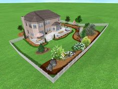 landscaping a large backyard on a budget | here s a full sweeping view of a sloping backyard landscape slopes and ...