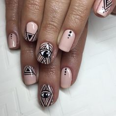Evil eye #nails by @superflynails inspired by a Pinterest design with an unknown original artist ✨ if anyone knows, please tag! #nailart #evileye #gelmanicure #sparklesf #