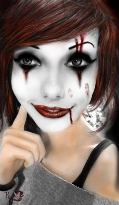bloody scars Harley Quinn joker makeup - clown face painting for 2014 Halloween #2014 #Halloween