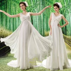 ivory empire waist chiffon wedding dress