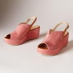 TULIP SANDALS - Petal-soft suede in a gently curving silhouette with contrasting leather accents and suede-wrapped wedges.