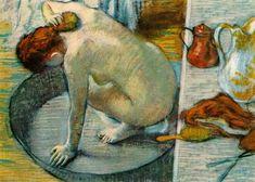 Edgar Degas (1834-1917), The Bather, model Suzanne Valadon, Toulouse-Lautrec, couleurs froides pour les ombres. Classique : terre et bleu