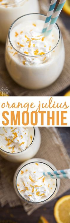 fresh orange julius smoothies are the perfect combination of orange and vanilla in a refreshing and delicious drink!These fresh orange julius smoothies are the perfect combination of orange and vanilla in a refreshing and delicious drink! Juice Smoothie, Smoothie Drinks, Fruit Smoothies, Smoothie Bowl, Healthy Smoothies, Healthy Drinks, Homemade Smoothies, Smoothie King, Smoothie Prep