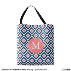 Coral and Navy Ikat Pattern Monogrammed Tote Bag