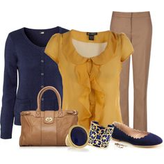 """""""mustard and navy"""" by meganpearl on Polyvore Have a mustard casual jacket. (I paired with rust top & black pants) Have blouse, but could use a blue under garment, with this color pants. Need winter shoes, too."""