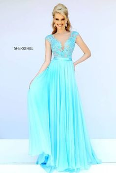 Shop Sherri Hill floor length designer evening gowns with lace cap sleeves at Simply Dresses. Long lace prom dresses with sheer illusion mesh. Grad Dresses Long, Sherri Hill Prom Dresses, Cute Prom Dresses, Long Prom Gowns, Pageant Dresses, Trendy Dresses, Dance Dresses, Ball Dresses, Evening Dresses