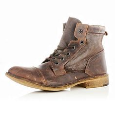 Dark brown contrast panel military boots - boots - shoes / boots ...
