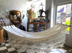 An absolute bohemian must-have!! Gorgeous Ivory colored macrame hammock just arrived at Le Toko for sale ......love love love this.