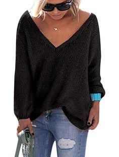Voguegirl Womens Autumn Casual V Neck Loose Knit Sweater Wrap Pullover