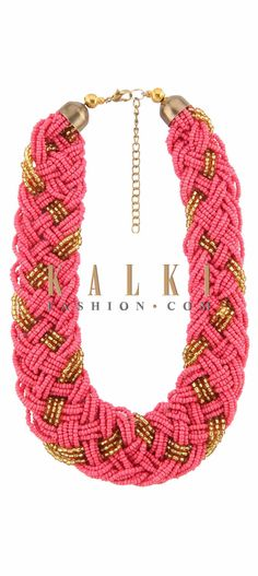 Buy Online from the link below. We ship worldwide (Free Shipping over US$100) Price-$19 Click Anywhere to Tag http://www.kalkifashion.com/pink-and-gold-necklace-in-moti-embroidery-only-on-kalki.html