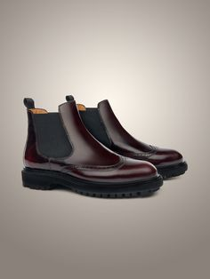 Brushed leather perforated ankle #boots, with rubber sole #Corneliani #FW15