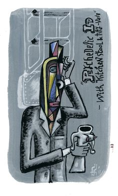 PSYCHEDLIC ID WITH KITCHEN STOOL & TITTY-VASE (gouache on paper 280 x 210mm) SOLD