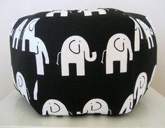 """18"""" Ottoman Pouf Floor Pillow Black White Elephant $75"""