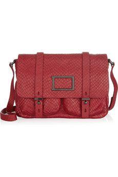 Werdie Snake Effect Leather Messenger Bag