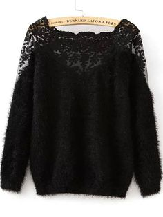 Shop Lace Paneled Mohair Black Sweater online. SheIn offers Lace Paneled Mohair Black Sweater & more to fit your fashionable needs.