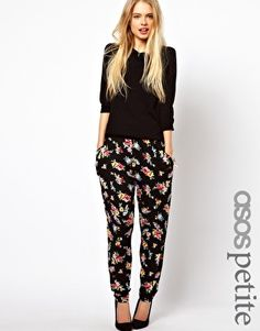 ASOS PETITE Peg Pants In Floral Print