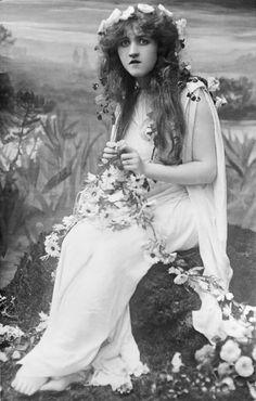 "1910 glass negative of singer Mignon Nevada as ""Ophelia"""