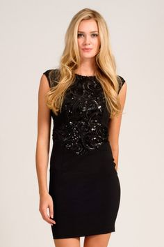 df07f66f26d Little Mistress Black Heavily Embellished Sequin Panel Bodycon Dress