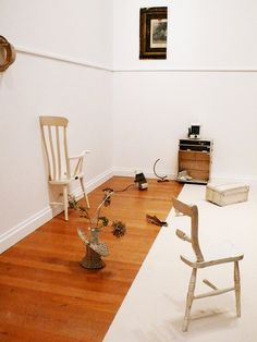 Yoko Ono's Half-A-Room installation, first shown in London in 1967, contains assorted objects cut in half; variable dimensions (photo by the author for Hyperallergic) from MoMA's 'One Woman Show': Now, the Ballad of Yoko